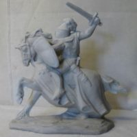 knight on horseback   bisqueware