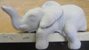 scioto 2462 sml shelf sitter elephant  (EP 18)  bisqueware