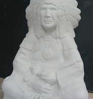 """duncan 1616 sitting chief  native american 10.25""""H  bisqueware"""